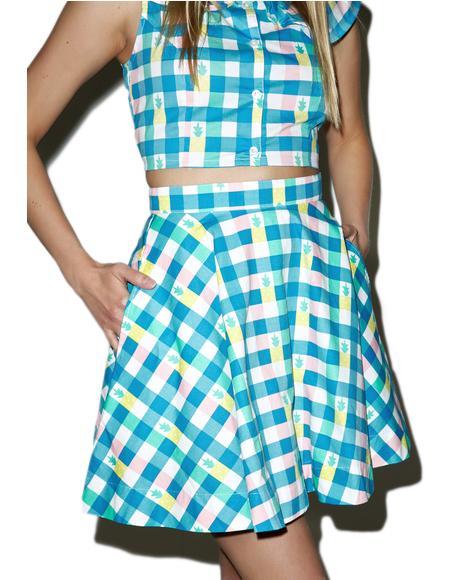 Pineapple Gingham Circle Skirt