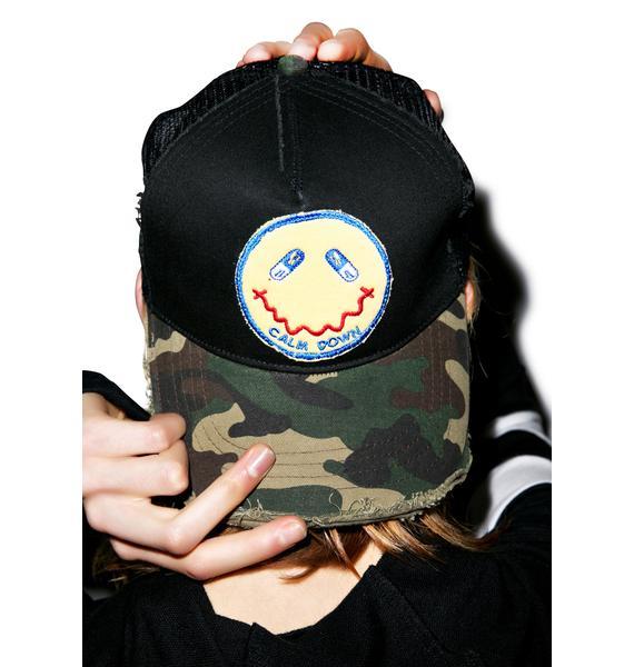 Lauren Moshi Jilly Calm Down Patch Trucker Hat