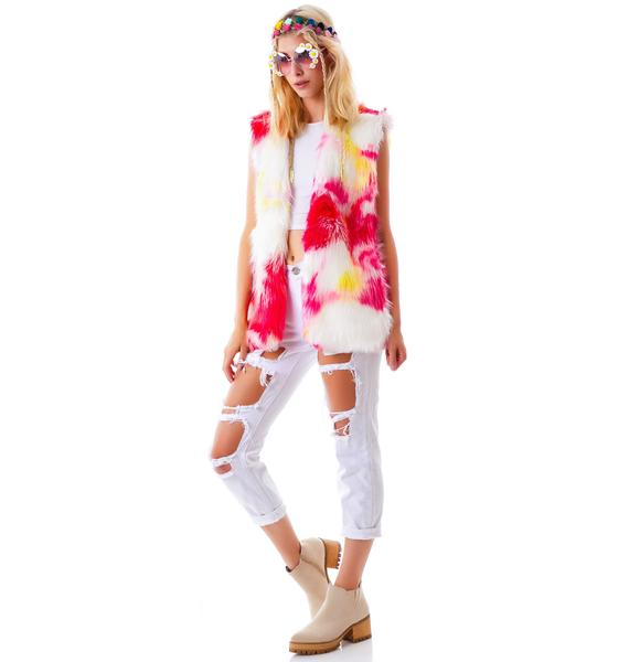 J Valentine Shagadelic Faux Leather Long Vest