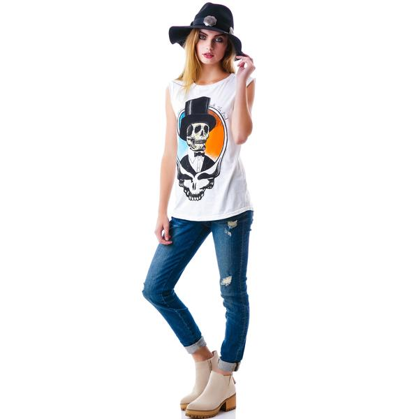 Top Hat Skull Muscle Tank