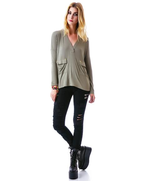 Elene Star Pocket Long Sleeve Shirt