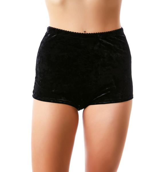 Widow Crush Velvet High Waisted Shorts