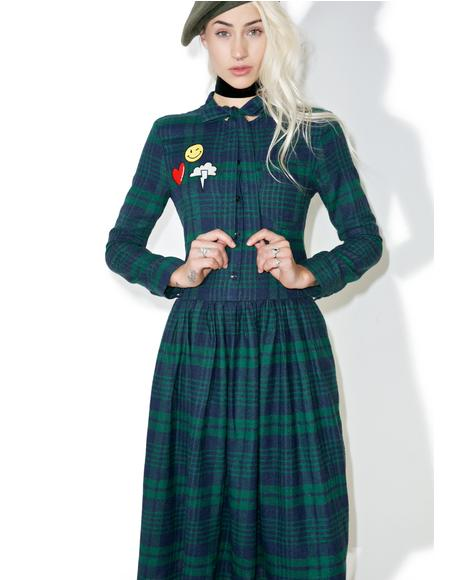 So Peculiar Plaid Midi Dress