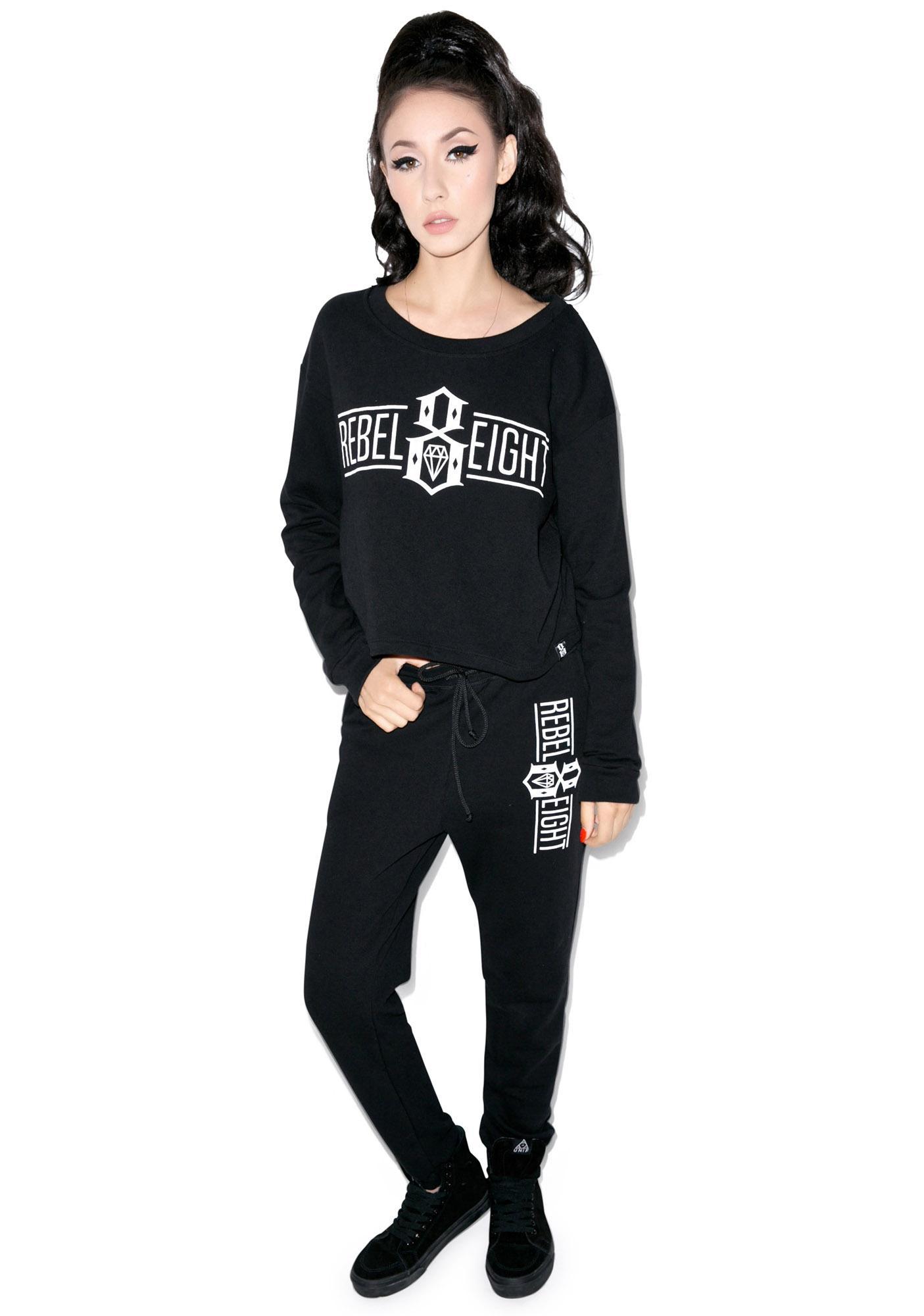 Rebel8 Logo Crop Top Sweatshirt
