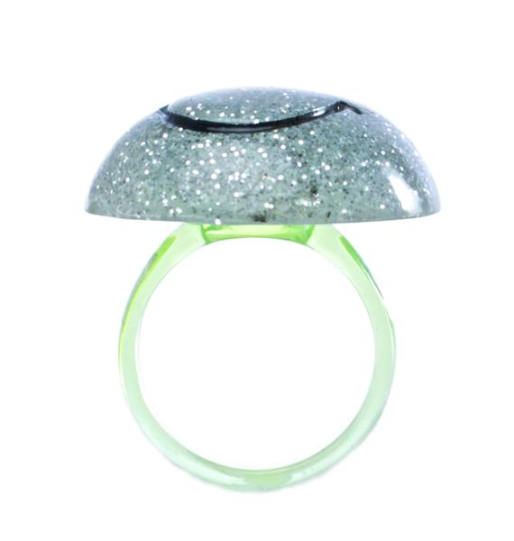 Rad and Refined Smiley Face Glitter Ring