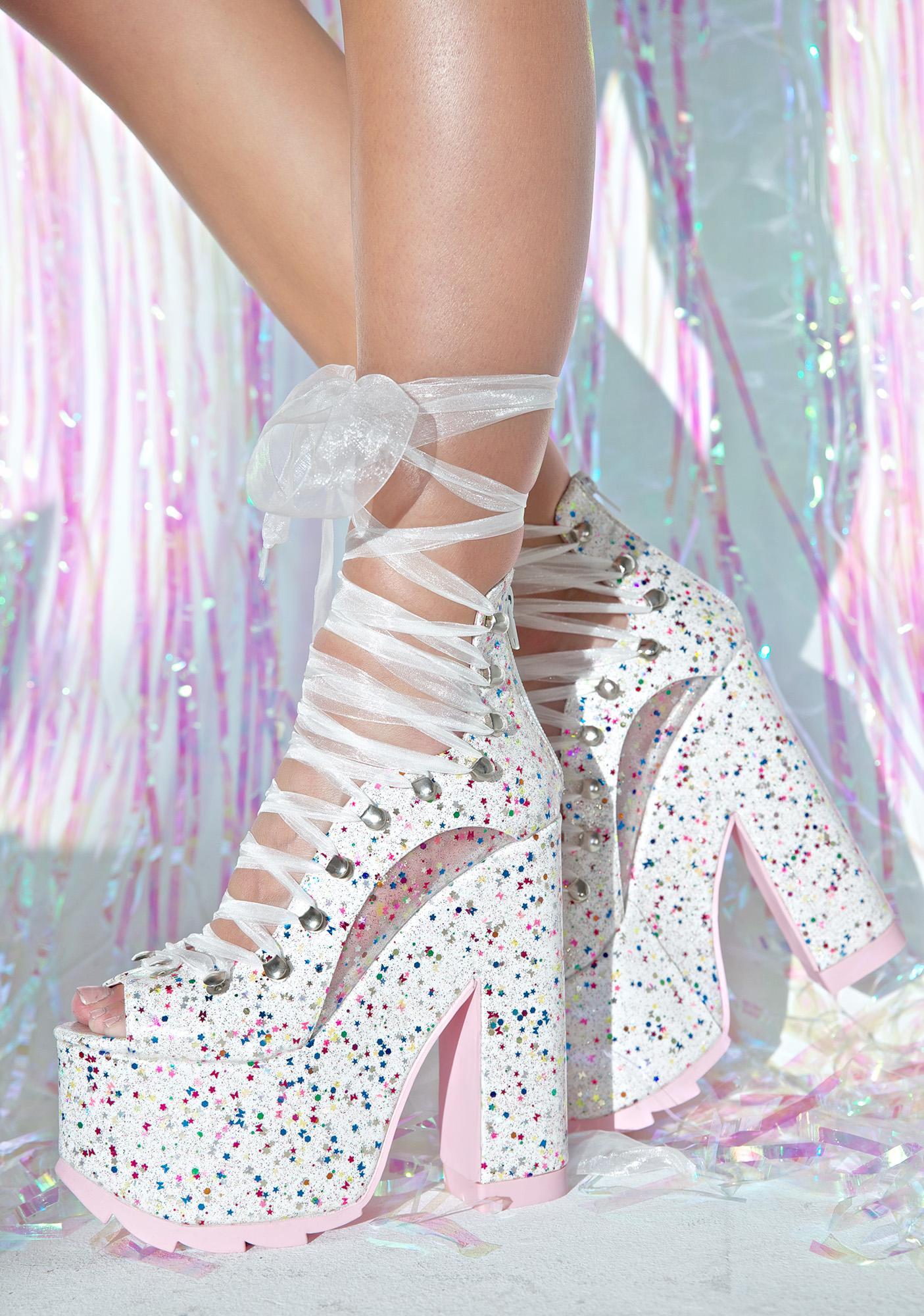Y.R.U. X Dolls Kill White Sparkle Ballet Bae Platforms