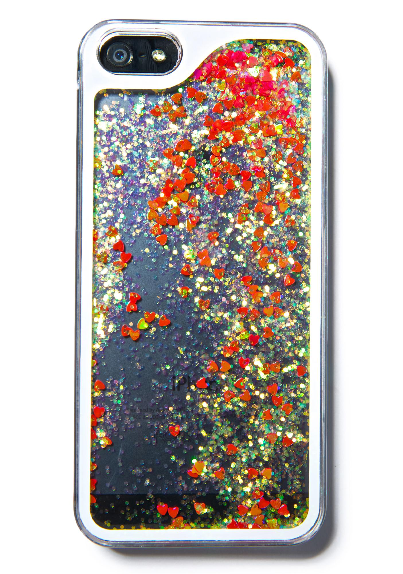 Falling Hearts Glitterfalls iPhone Case