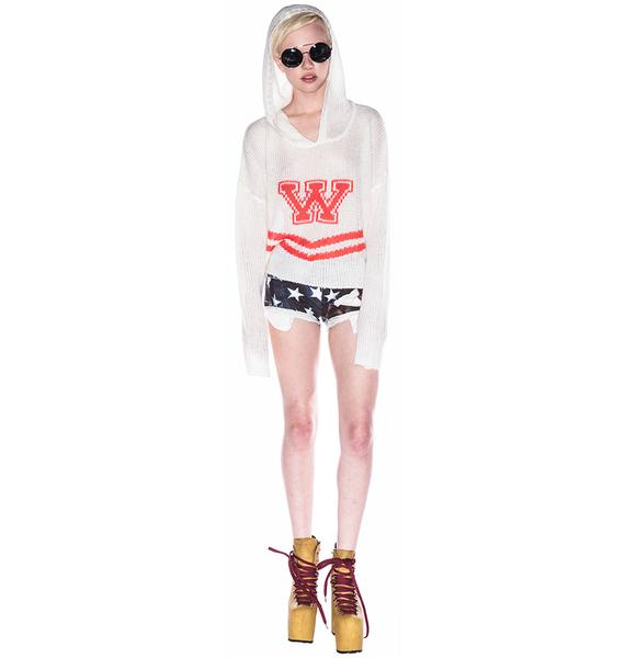 Wildfox Couture Cheerleader Hooded Billy Crop Sweater