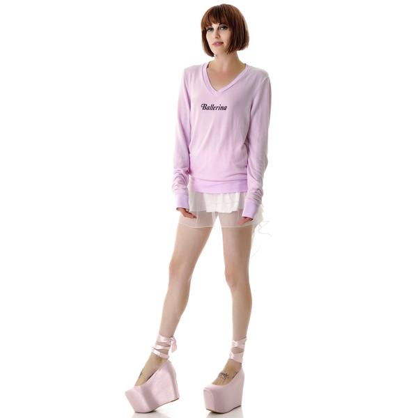 Wildfox Couture Ballerina Daisy V-Neck Baggy Beach Jumper