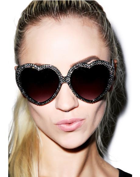 Silver Swarovski® Heart Sunglasses