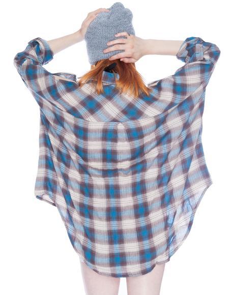 Bare Shoulders Blue Button Up Shirt
