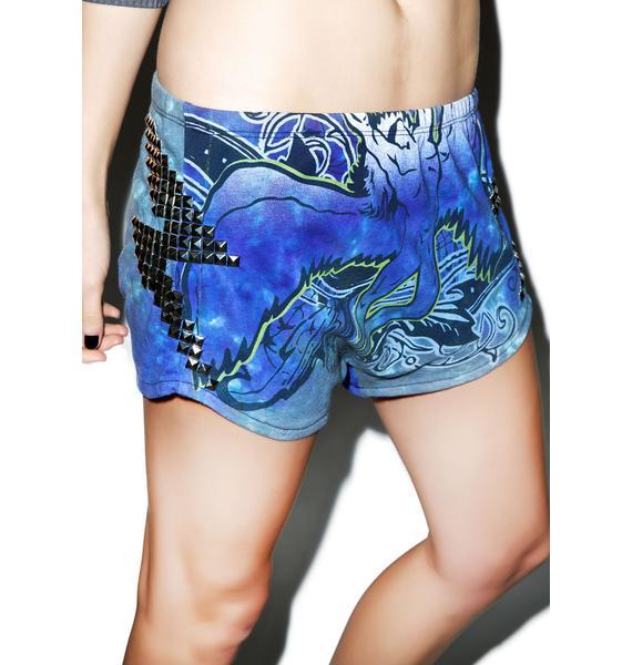 Hazmat Design Ride The Zeppelin Lightning Studded Shorts