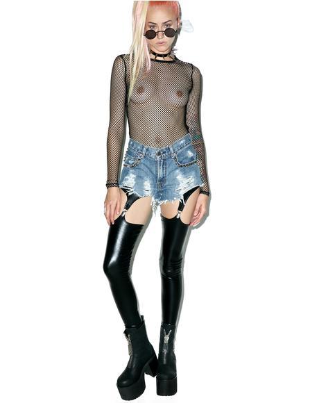Wett Look Garter Leggings