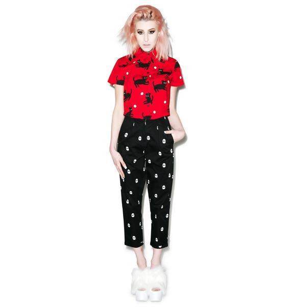 Lazy Oaf Black Dog Cropped Shirt