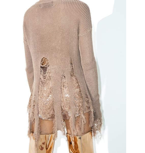 Coffee Cake Destroyed Sweater