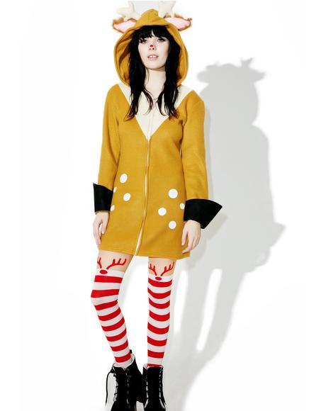 Rudolph Striped Tights