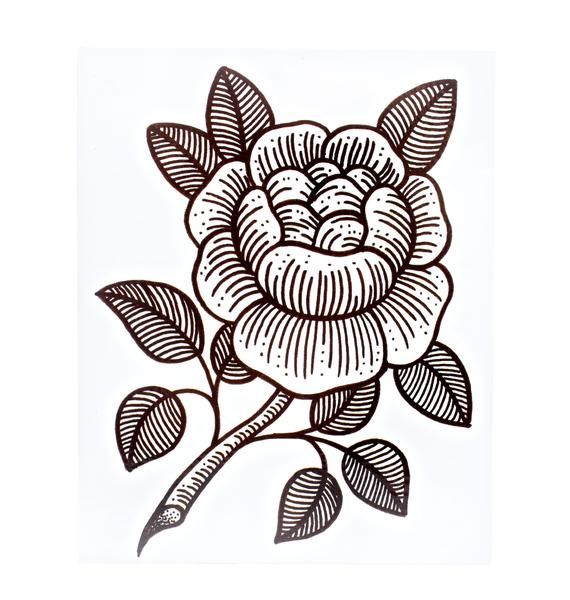 Rosie Woodcut Temporary Tattoo