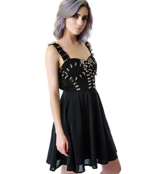 Amanda Spiked Sheer Mid Dress
