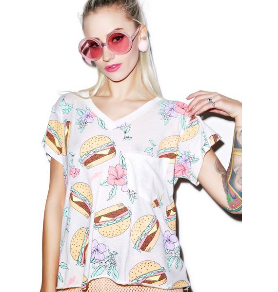 Wildfox Couture Hamburger Romeo Pocket V-Neck Tee