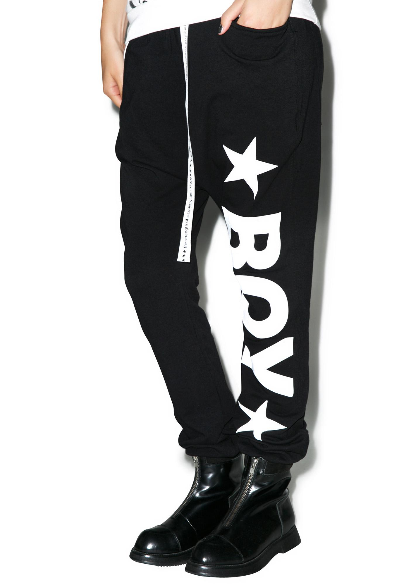BOY London Boy Star Drop Crotch Joggers