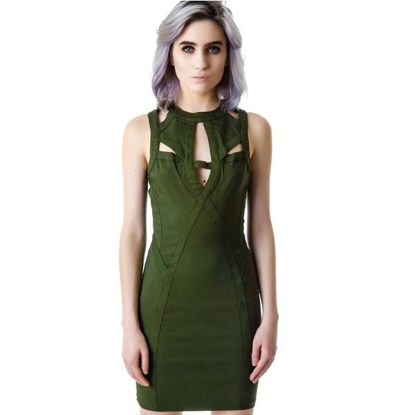 Cut Out Cadet Body Con Dress
