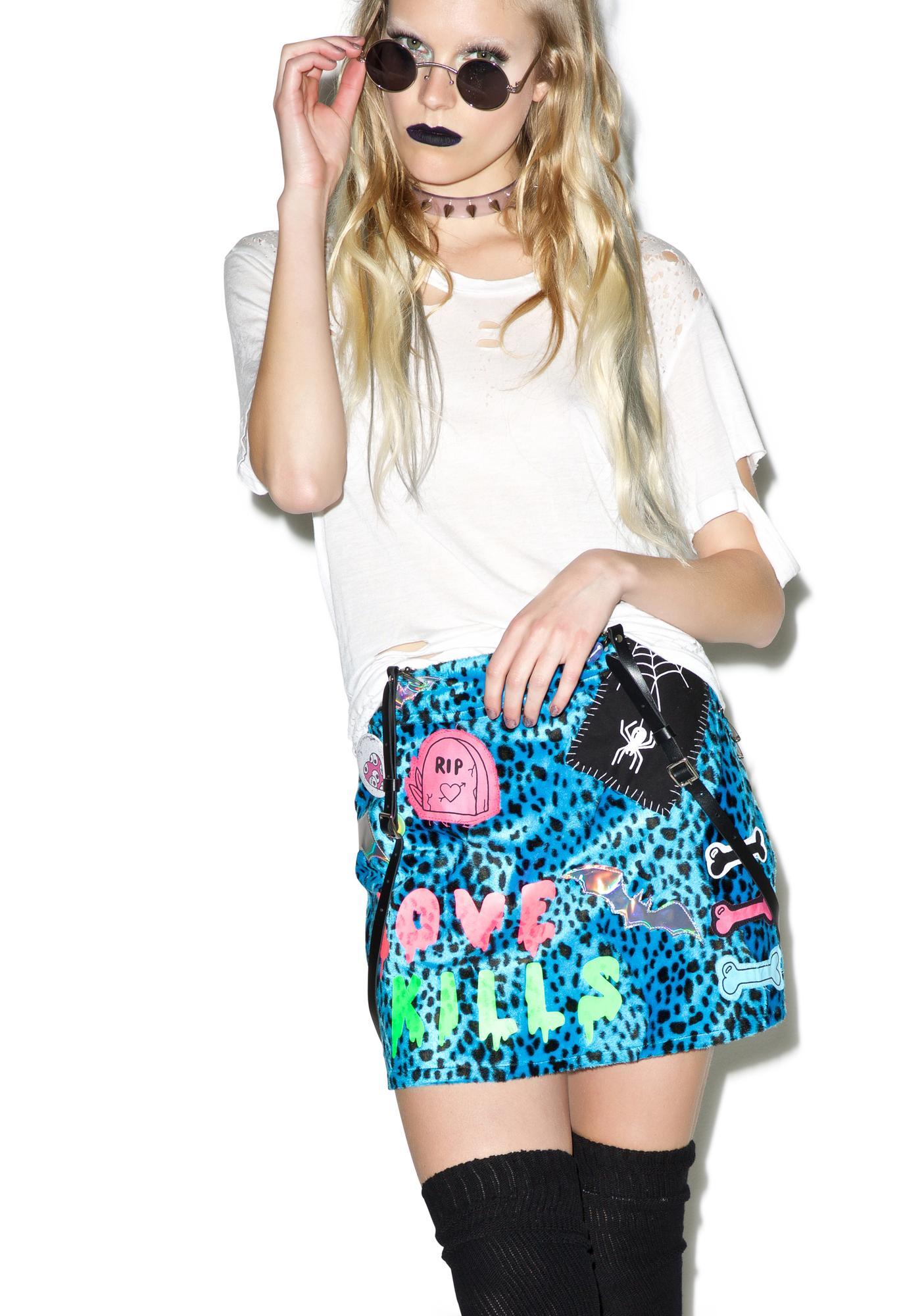 Indyanna Suzi High Waist Blue Leopard Mini Skirt