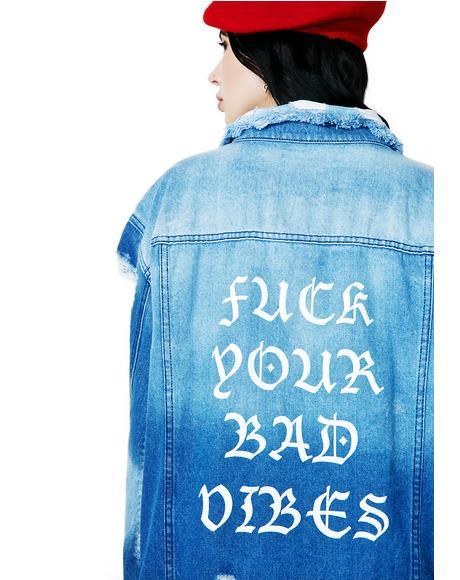 No Bad Vibez Denim Jacket