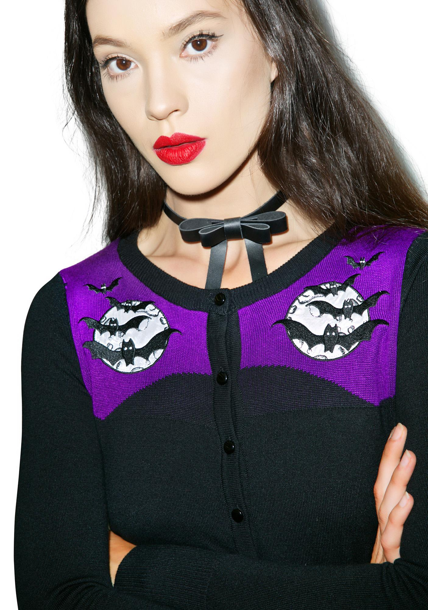 Too Fast Cats N' Bats Embroidered Cardigan