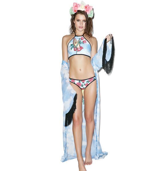 Current Mood Sacred Rose Halter Bikini Top