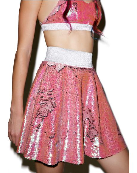 Double Sequin Skater Skirt