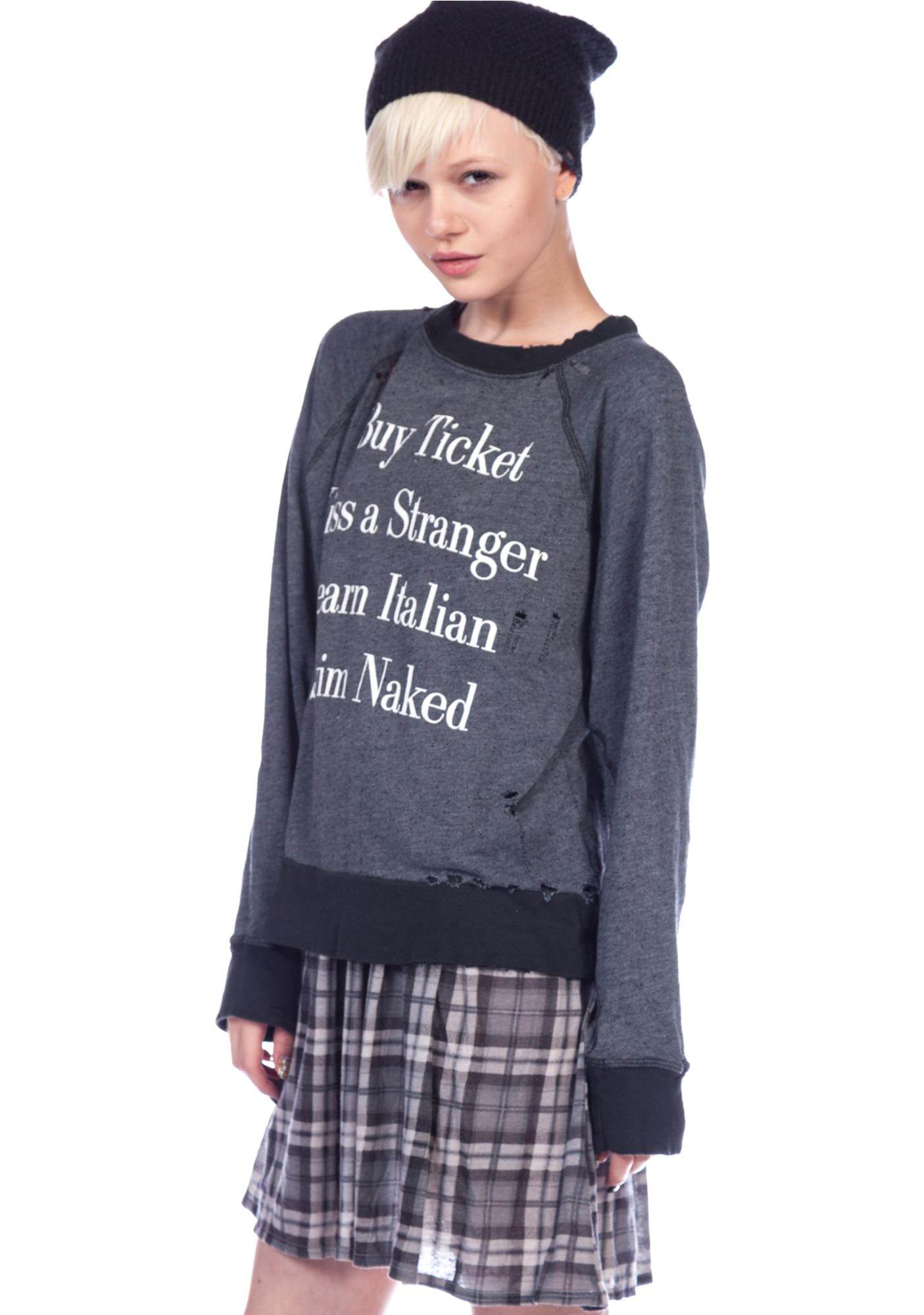Wildfox Couture Learn Italian Destroyed Sweater