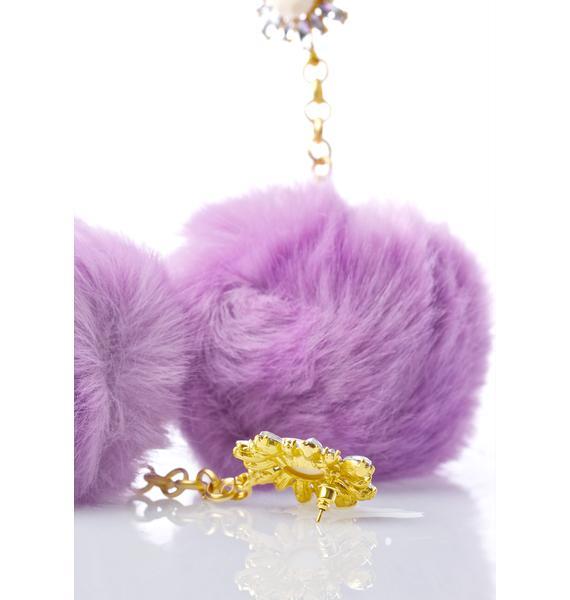 Rock n Rose Purrfect Purple Pom-Pom Earrings