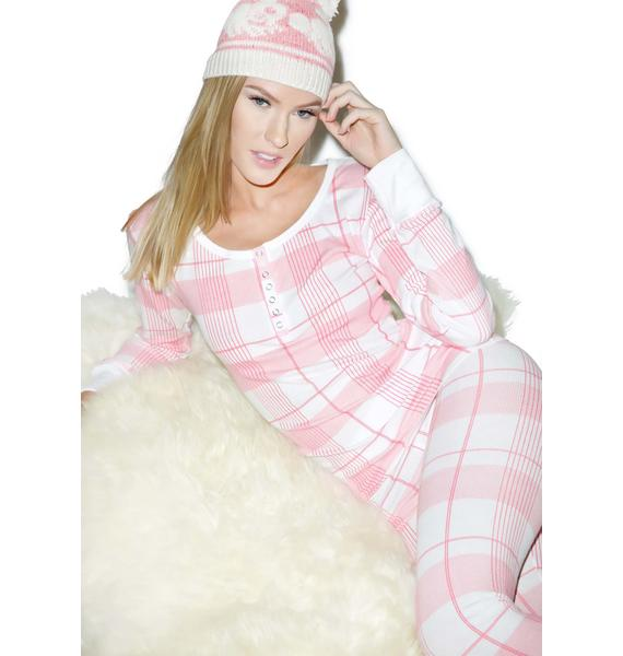 Wildfox Couture Pink Plaid Ski Bunny Set