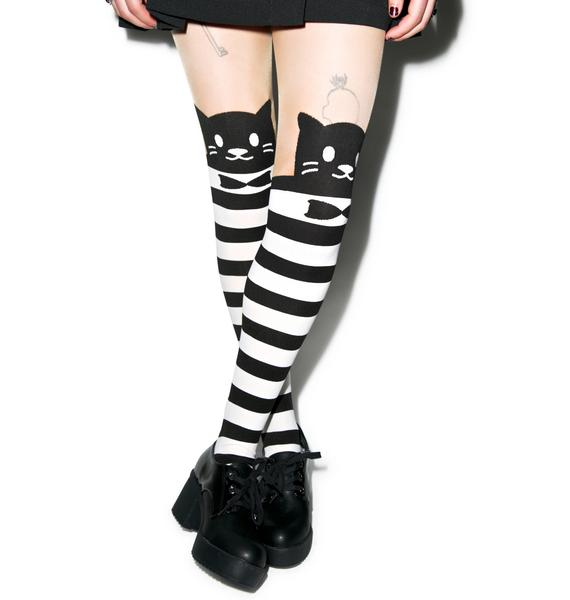 Monsieur Pounce Striped Tights