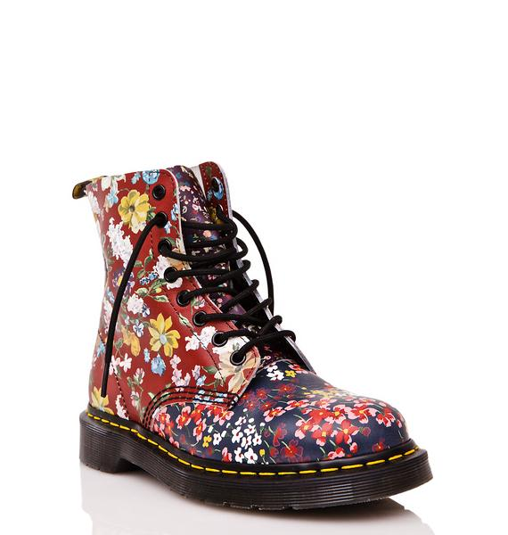 Dr. Martens Floral Pascal 8 Eye Boots