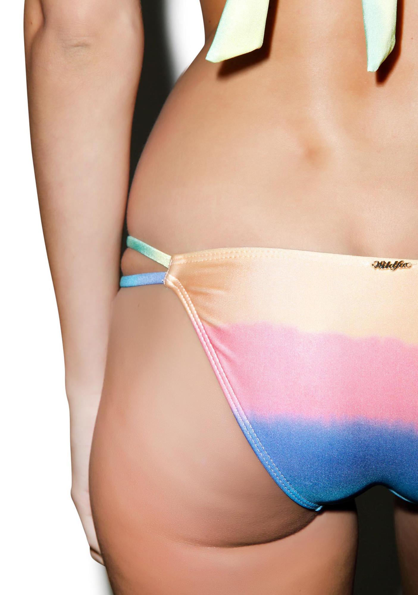 Wildfox Couture Mermaid Pastel Tie Dye Split String Bottom