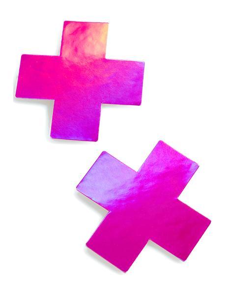 Pink Hologram Cross Pasties