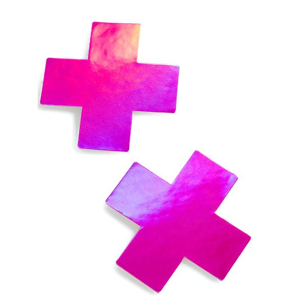 Pastease Pink Hologram Cross Pasties