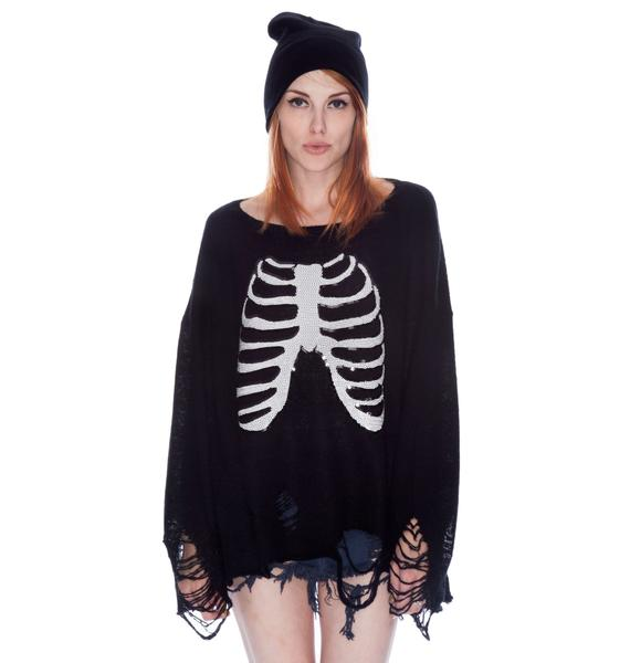 Wildfox Couture Lennon Sparkly Skeleton Sweater