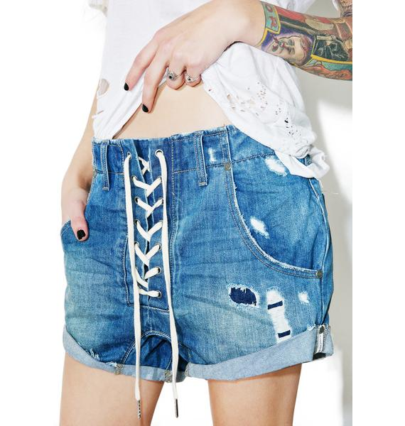 One Teaspoon Blue Cult Lace-Up Shorts