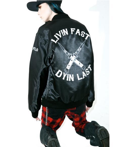 Livin Fast Dyin Last Bomber Jacket