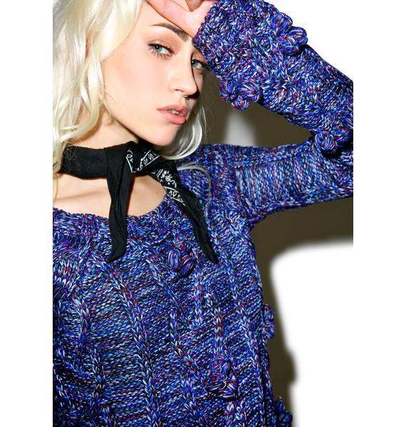 For Love & Lemons Indigo Braided Cable Mini Dress
