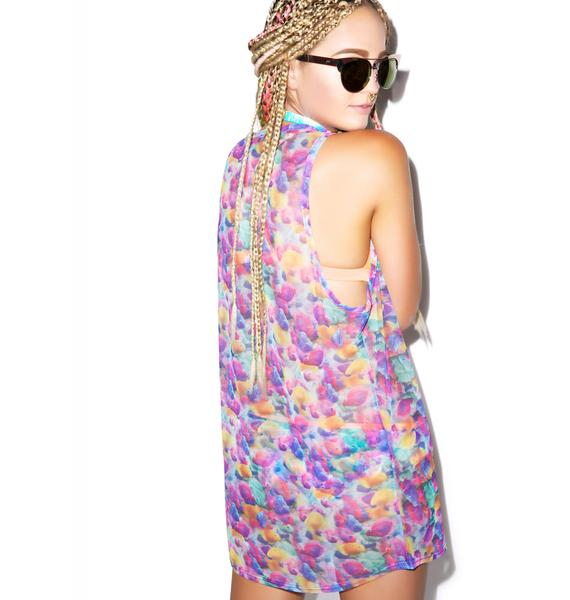 Hot!MeSS All Over Printed Fishy Sheer Vest