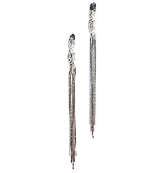 Silver Palm Fringe Earrings
