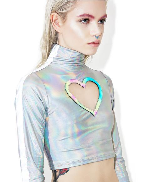 Reflective Heart Cut Out Top