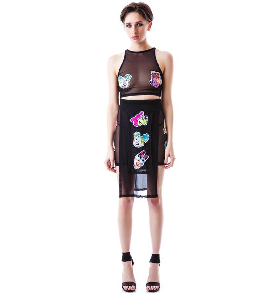 Coveted Society Worped on Acid Panel Mesh Skirt