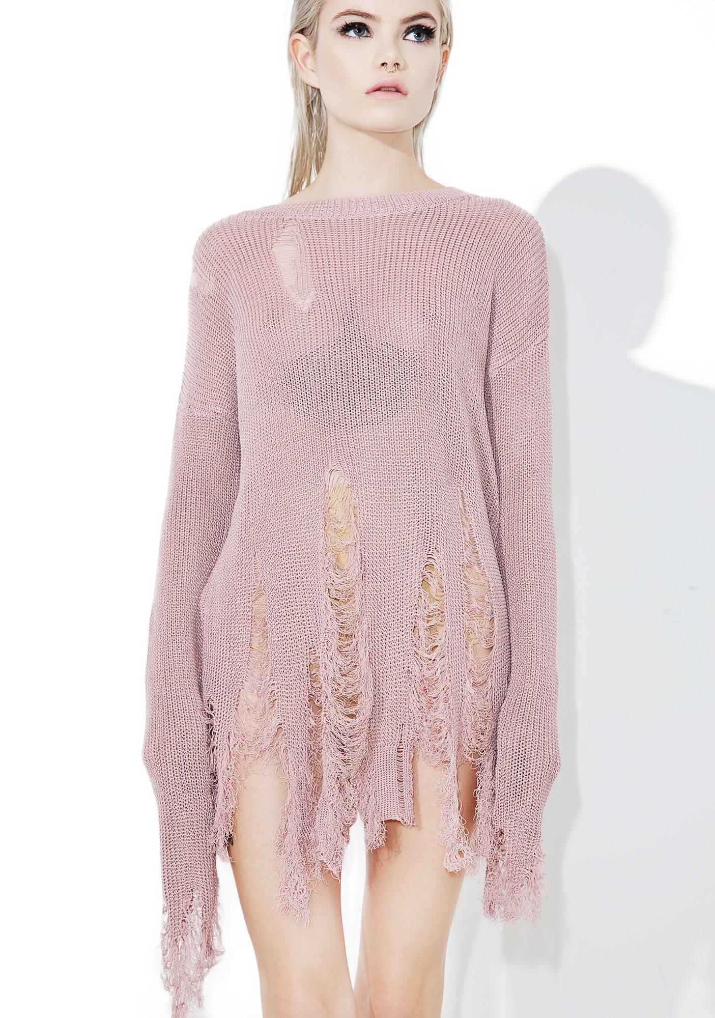 Rose Quartz Destroyed Sweater