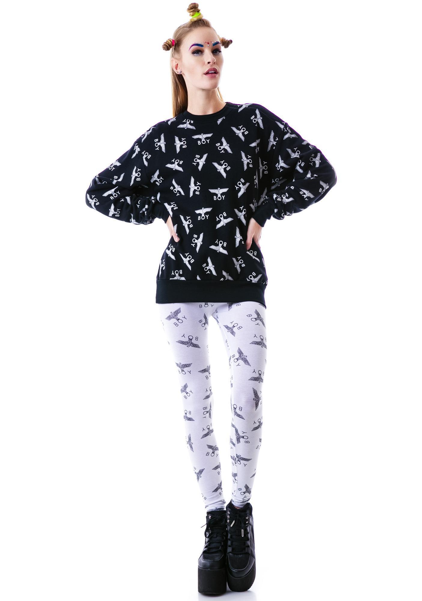 BOY London Allover Eagle BOY Pullover Sweater