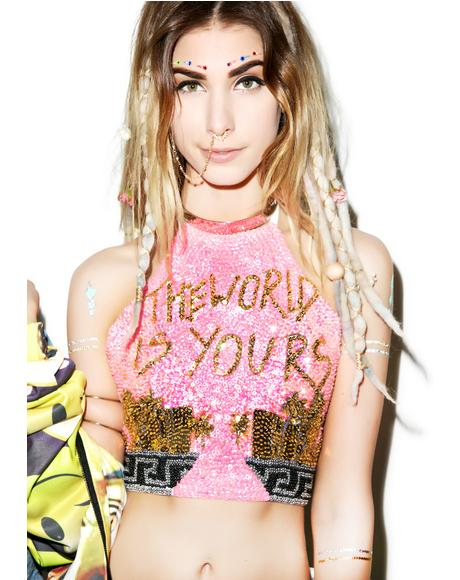 The World Is Yours Halter Top