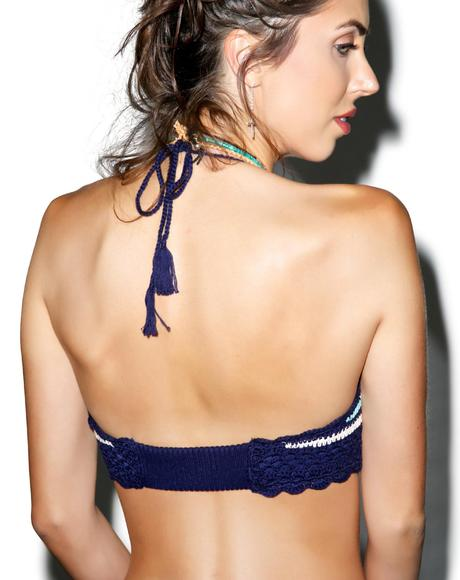Drumbeat Crochet Bandeau Bikini Top